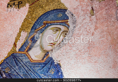 Mary Mosaic stock photo, Mary Mosaic at Chora Church in Istanbul by Scott Griessel