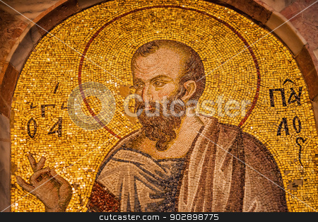 Paul Mosaic stock photo, Paul Mosaic at Chora Church in Istanbul by Scott Griessel