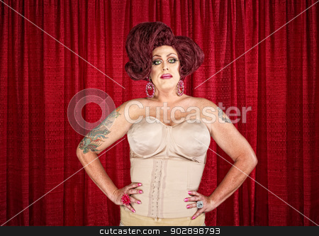 Drag Queen in Corset stock photo, Drag queen in corset with hands on hips by Scott Griessel