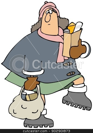 Woman carrying groceries stock photo, This illustration depicts a bundled up woman carrying grocery bags. by Dennis Cox