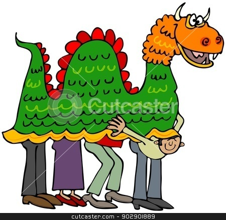Chinese dragon stock photo, This illustration depicts four people beneath a Chinese dragon costume with one man peering out. by Dennis Cox