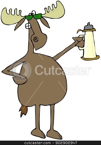Moose raising a toast stock photo, This illustration depicts a moose with one paw on his hip, the other raising a beer stein in a toast. by Dennis Cox