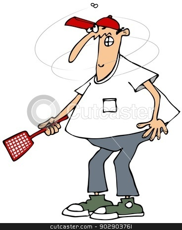 Annoying fly stock photo, This illustration depicts a man holding a flyswatter as an annoying bug circles his head. by Dennis Cox