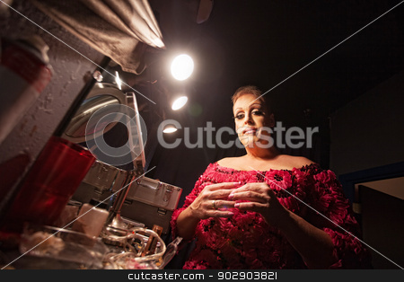 Man Dressing as a Woman stock photo, Man in backstage dressing up as a woman by Scott Griessel