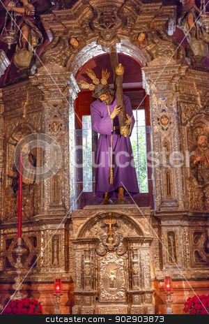 Basilica Jesus Statue With Cross Church of El Salvador Seville A stock photo, Basilica Jesus With Cross Statue Church of El Salvador, Iglesia de El Salvador, Andalusia, Seville Spain.  Built in the 1700s.  Second largest church in Seville. by William Perry
