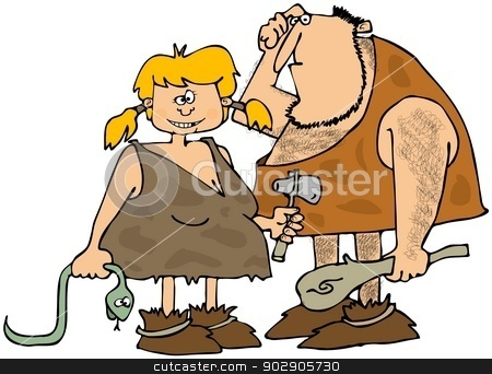 Cave couple stock photo, This illustration depicts a caveman holding a club and his wife carrying a dead snake and a rock hammer. by Dennis Cox