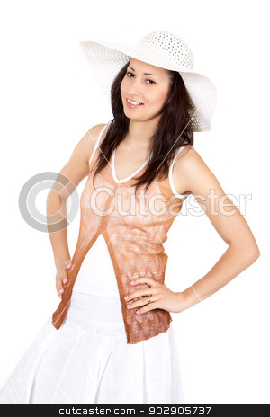 Woman in white sun hat stock photo, Brunette woman in white sun hat in a white dress, on white background, posing with hands on hips by Marian Bauer