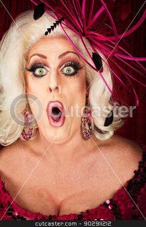Singing Woman stock photo, Close up of blond woman in pink singing by Scott Griessel