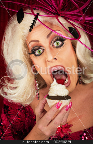 Actress Eating Cupcake stock photo, Blond actress pigging out with chocolate cherrry cupcake by Scott Griessel