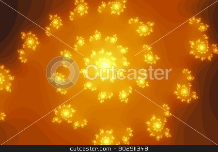 Orange Fractal stock photo, Golden and yellow spiral type of fractal. by Henrik Lehnerer