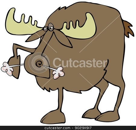 Snorting moose stock photo, This illustration depicts an angry moose stomping its hoof and snorting. by Dennis Cox