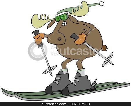 Moose on skis stock photo, This illustration depicts a bull moose wearing a stocking cap skiing. by Dennis Cox