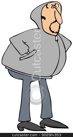 Man in a gray hoodie stock photo, This illustration depicts a man wearing a gray hoodie sweatshirt. by Dennis Cox