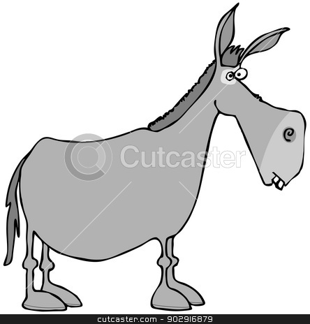 Gray donkey stock photo, This illustration depicts the side view of a gray donkey. by Dennis Cox