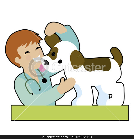 Puppy and Vet stock vector clipart, A male vet is checking a puppy's ear and gettng a kiss from the puppy - both are very happy by Maria Bell