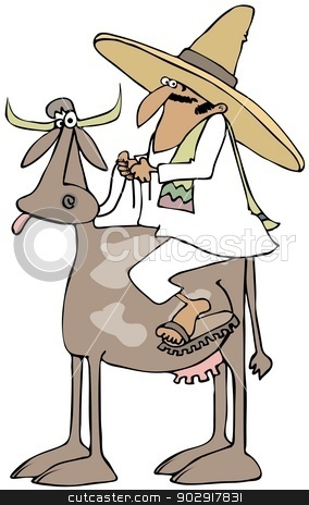 Mexican riding a cow stock photo, This illustration depicts a Mexican in a traditional outfit riding on a cow. by Dennis Cox