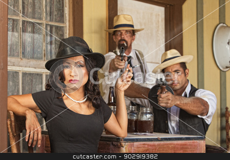 Bootleggers with Whiskey and Guns stock photo, 1920s pretty woman with bootleggers and guns by Scott Griessel