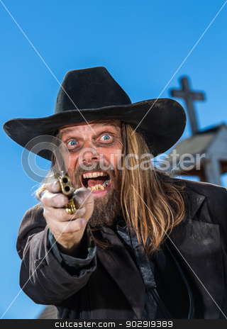 Screaming Man Points Gun stock photo, A Screaming Man Points Gun at Camera by Scott Griessel