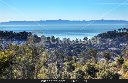 Morning Pacific Ocean Landscape Channel Islands Santa Barbara, C stock photo, Morning Pacific Oecan View East Mountain Road Channel Islands Santa Barbara California  by William Perry