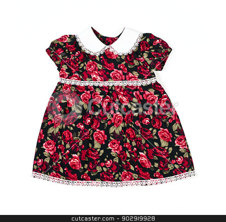 Handmade dress for baby girl stock photo, Handmade dress for baby girl or toddler isolated on white background by Elena Elisseeva