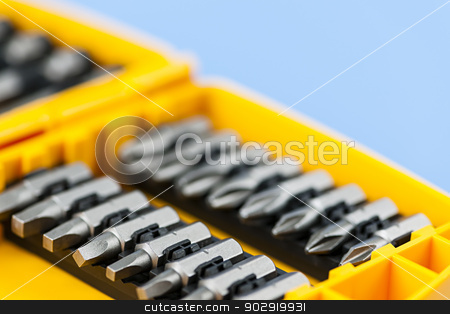 Screwdriver insert bits stock photo, Closeup on phillips and robertson screwdriver insert bits of various sizes by Elena Elisseeva
