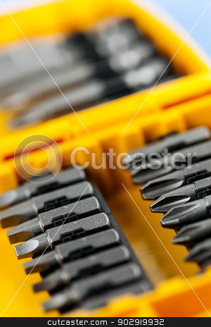 Screwdriver insert bits stock photo, Closeup on phillips and robertson screwdriver insert bits of various sizes by Elena Elisseeva