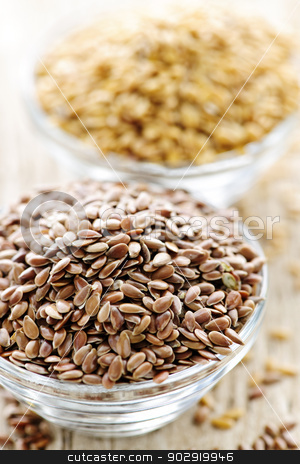 Brown and golden flax seed stock photo, Bowls full of brown and golden flax seed or linseed by Elena Elisseeva