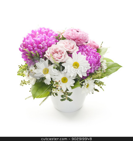 Flower arrangement stock photo, Bouquet of colorful flowers arranged in small vase on white background by Elena Elisseeva