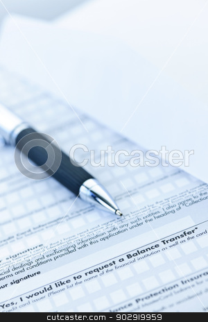Financial application form stock photo, Blank credit application form with envelope and pen close up by Elena Elisseeva