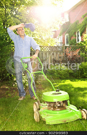 Man mowing lawn stock photo, Man taking a break while mowing lawn on hot summer day by Elena Elisseeva