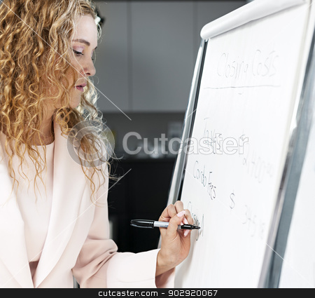 Real estate agent writing on flip chart stock photo, Woman real estate agent writing closing costs on flip chart paper in office by Elena Elisseeva