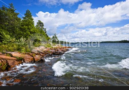 Rocky shore in Georgian Bay stock photo, Rocky lake shore of Georgian Bay in Killbear provincial park near Parry Sound, Ontario, Canada. by Elena Elisseeva