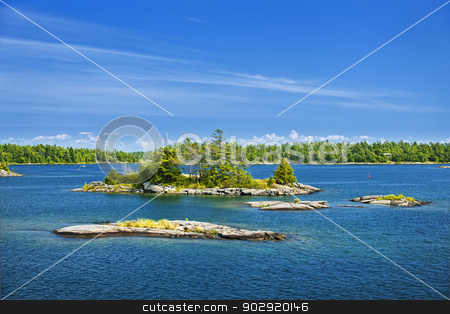 Islands in Georgian Bay stock photo, Small rocky islands in Georgian Bay near Parry Sound, Ontario Canada by Elena Elisseeva