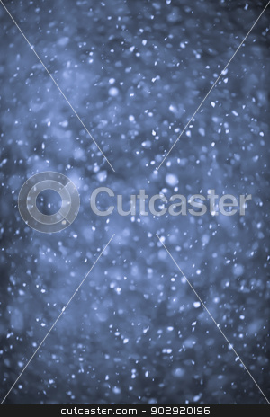 Snowfall at night stock photo, Background of snow flurry falling at night with motion blur by Elena Elisseeva