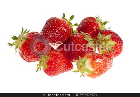 Strawberries isolated stock photo, Fresh organic whole red strawberries isolated on white background by Elena Elisseeva
