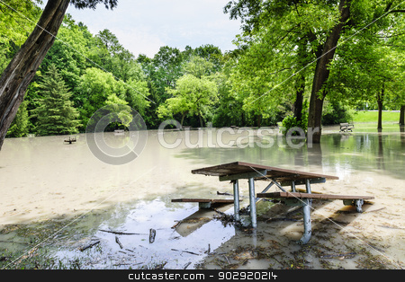 Flood in park stock photo, Picnic area of Sunnybrook park in Toronto flooded after heavy rains by Elena Elisseeva