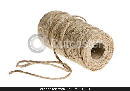 Spool of twine stock photo, Spool of brown rough twine isolated on white background by Elena Elisseeva