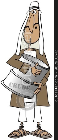 Arab man holding a barrel of crude stock photo, This illustration depicts a middle eastern man holding a barrel of crude oil. by Dennis Cox