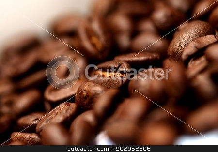 Coffee beans stock photo, Extreme close up of coffee beans by Karma Shuford