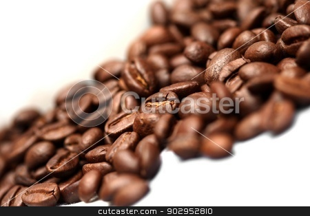 Coffee stock photo, coffee beans on a white background by Karma Shuford