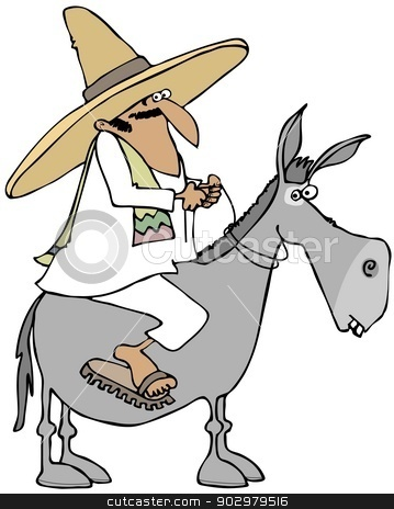 Mexican man riding a donkey stock photo, This illustration depicts a Mexican man wearing a sombrero and sandals riding on a donkey. by Dennis Cox