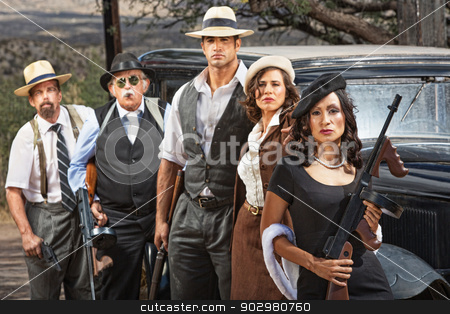 Criminal Gangsters with Weapons stock photo, Female criminal with group of gangsters outdoors by Scott Griessel