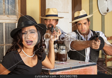 Female Gangster Yelling stock photo, Angry 1920s vintage gangsters with weapons and whiskey by Scott Griessel