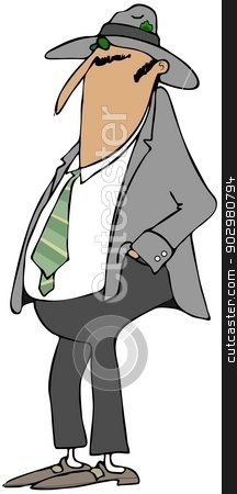 Man wearing a fedora stock photo, This illustration depicts a man wearing a sport coat and a fedora. by Dennis Cox