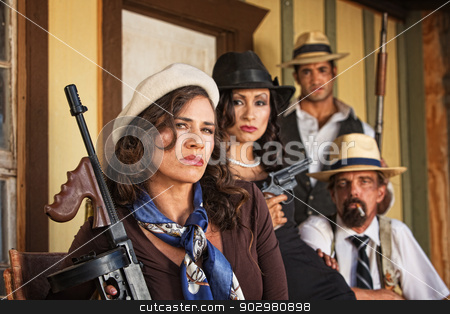 1920s Era Mob with Weapons stock photo, 1920s vintage gangsters with machine gun by Scott Griessel