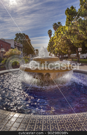 Large Mexican Tile Fountain Sunlight Ventura California  stock photo, Large Mexican Tile Fountain Sunlight Morning Park  Ventura California.  by William Perry