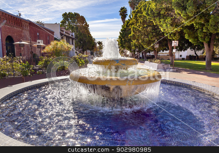 Large Mexican Tile Fountain Ventura California  stock photo, Large Mexican Tile Fountain Garden  Ventura California.  by William Perry