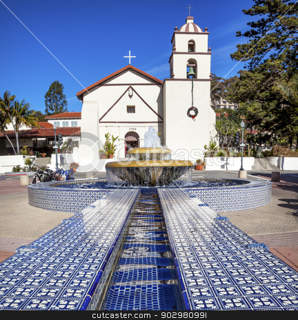 Mexican Tile Fountain Mission San Buenaventura Ventura Californi stock photo, Mexican Tile Fountain Mission San Buenaventura Ventura California.  Founded 1782 by  Father Junipero Serra.  Named for Saint Bonaventure by William Perry