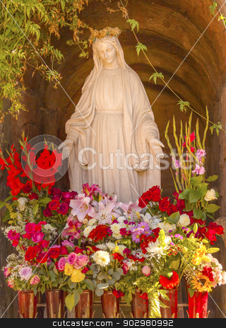 Virgin Mary Statue Flowers Garden Mission San Buenaventura Ventu stock photo, Virgin Mary Statue Flowers Garden Mission San Buenaventura Ventura California.  Founded 1782 by  Father Junipero Serra.  Named for Saint Bonaventure by William Perry