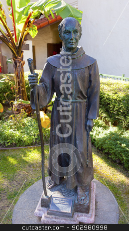 Father Junipero Serra Statue Mission San Buenaventura Ventura Ca stock photo, Junipero Serra Statue Mission San Buenaventura Ventura California.  Founded 1782 by  Father Junipero Serra.  Named for Saint Bonaventure by William Perry